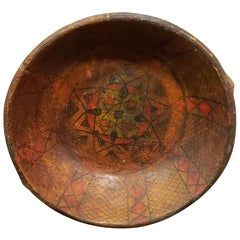 Old Moroccan Hand Painted Wooden Plate, Antique Red