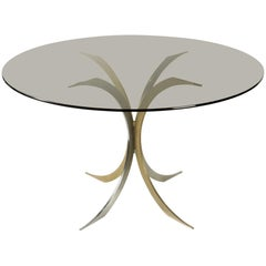 Very Pretty Table on One Foot in Chrome Metal and Gold