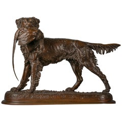 French Bronze Sculpture of a Setter and Pheasant, by Jules Moigniez '1835-1894'