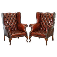 1930s Pair of Restored Chesterfield Fully Buttoned Wingback Armchairs Leather