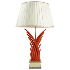 Very Pretty Lamp in Painted Metal and Gold Leaf Base of Marble from the 1970s