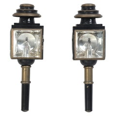 Pair of Antique Coach Lights or Lanterns, Converted into Sconces