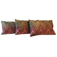Missoni Multicolored Chevron Stripe Set of 3 No Rectangular Cushions