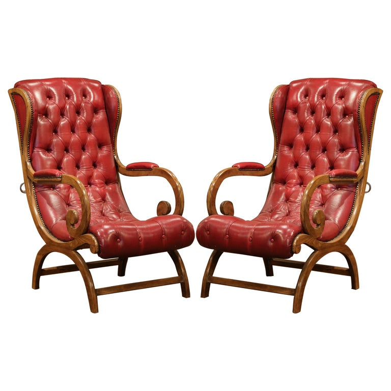 Pair Of Midcentury French Carved Walnut Armchairs With Red Leather