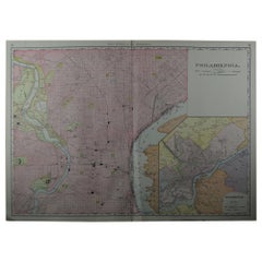 Large Original Antique City Plan of Philadelphia, USA, circa 1900