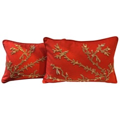 Set of Hand Embroidered Coral Cushions on Linen Colour Coral Red