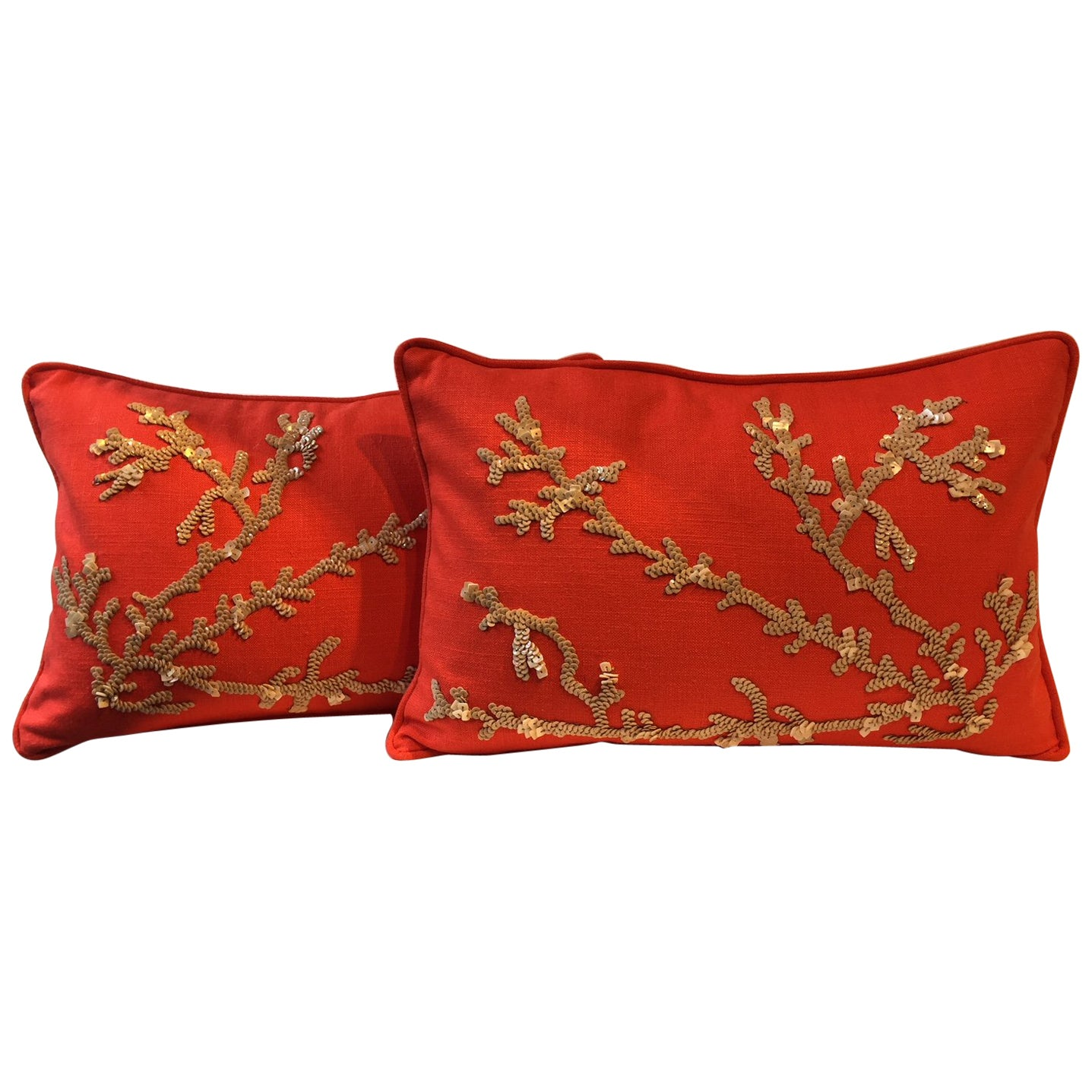Set of Hand Embroidered Coral Cushions on Linen Color Coral Red