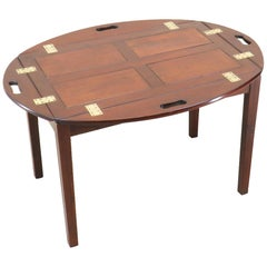 Georgian Style Mahogany Oval Butlers Tray On Stand