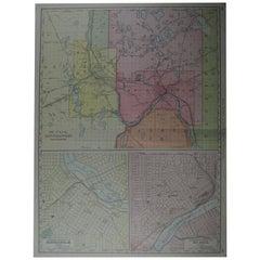 Large Original Antique City Plan of Minneapolis and St Paul, USA, circa 1900