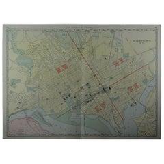 Large Original Antique City Plan of Washington DC, USA. circa 1900