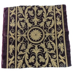 Antique Italian Gold and Burgundy Silk on Silk Velvet Applique Textile Panel