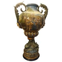 """Early 20th Century """"Castelli"""" Big Decorated Hard Porcelain Vase"""