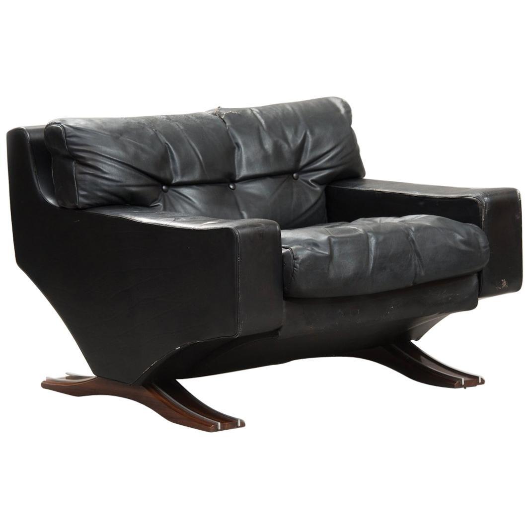 Italian Mid-Century Modern Large Armchair