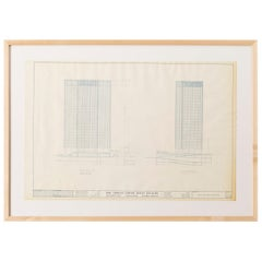 Mies van der Rohe Blueprint, One Charles Center, Baltimore 1961, Elevations