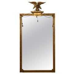 Antique Carved Giltwood Eagle Mounted Mirror