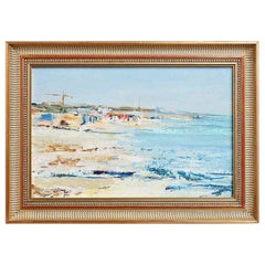 Midcentury T. Scola Coastal Painting Oil on Board