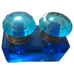 Vintage Rare Late 19th Century Light Blue Crystal Inkwell