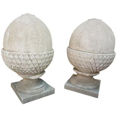 Pair of Limestone Acorns
