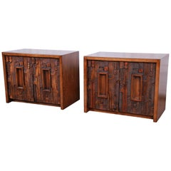 Lane Pueblo Brutalist Mid-Century Modern Oak Nightstands, Pair