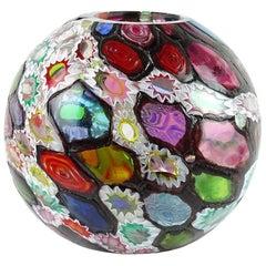 Fratelli Toso Murano Millefiori Flower Star Mosaic Italian Art Glass Flower Vase