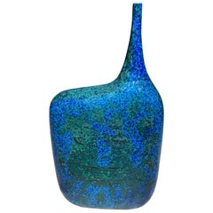 Blue and Green Ceramic Vase in the Style of Marcello Fantoni