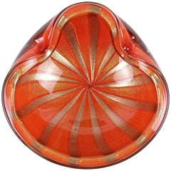Alfredo Barbini Murano Orange Gold Aventurine Stripes Italian Art Glass Bowl