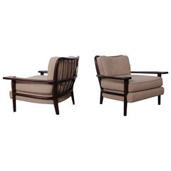 Pair of Paddle Arm Lounge Chairs by Paul Laszlo