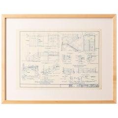 Mies van der Rohe Blueprint, Crown Hall, Chicago, 1954, North Platform