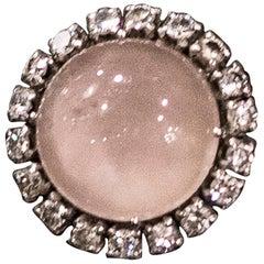 19th Century Pink Quartz-Diamonds Gold French Ring, circa 1880