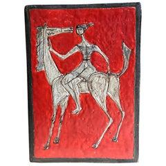 Red Glazed Ceramic Plaque in the Style of Marcello Fantoni