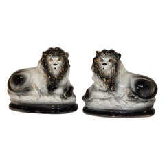 19th Century Pair of Staffordshire Lions