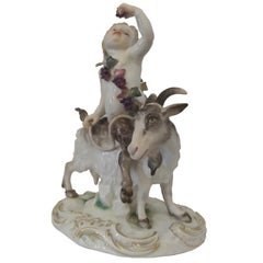 19th Century Hand Painted Meissen Porcelain Satyr with Goat Figure