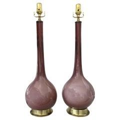 Pair of Purple Cased Murano Glass Lamps