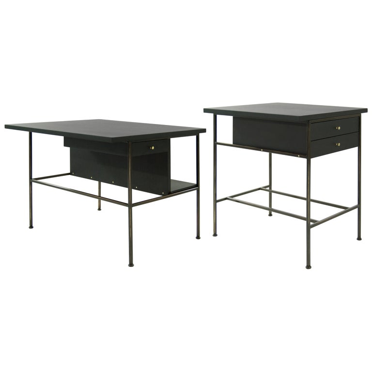 Complimenting Set of Bronze End Tables by Paul McCobb For Sale