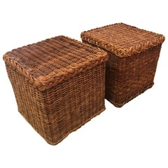 Vintage Pair of Braided Wicker Rattan Side End Tables Benches Square
