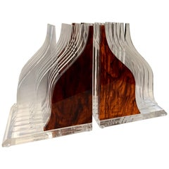 Lucite Tortoise Celluloid Streamline Book Ends