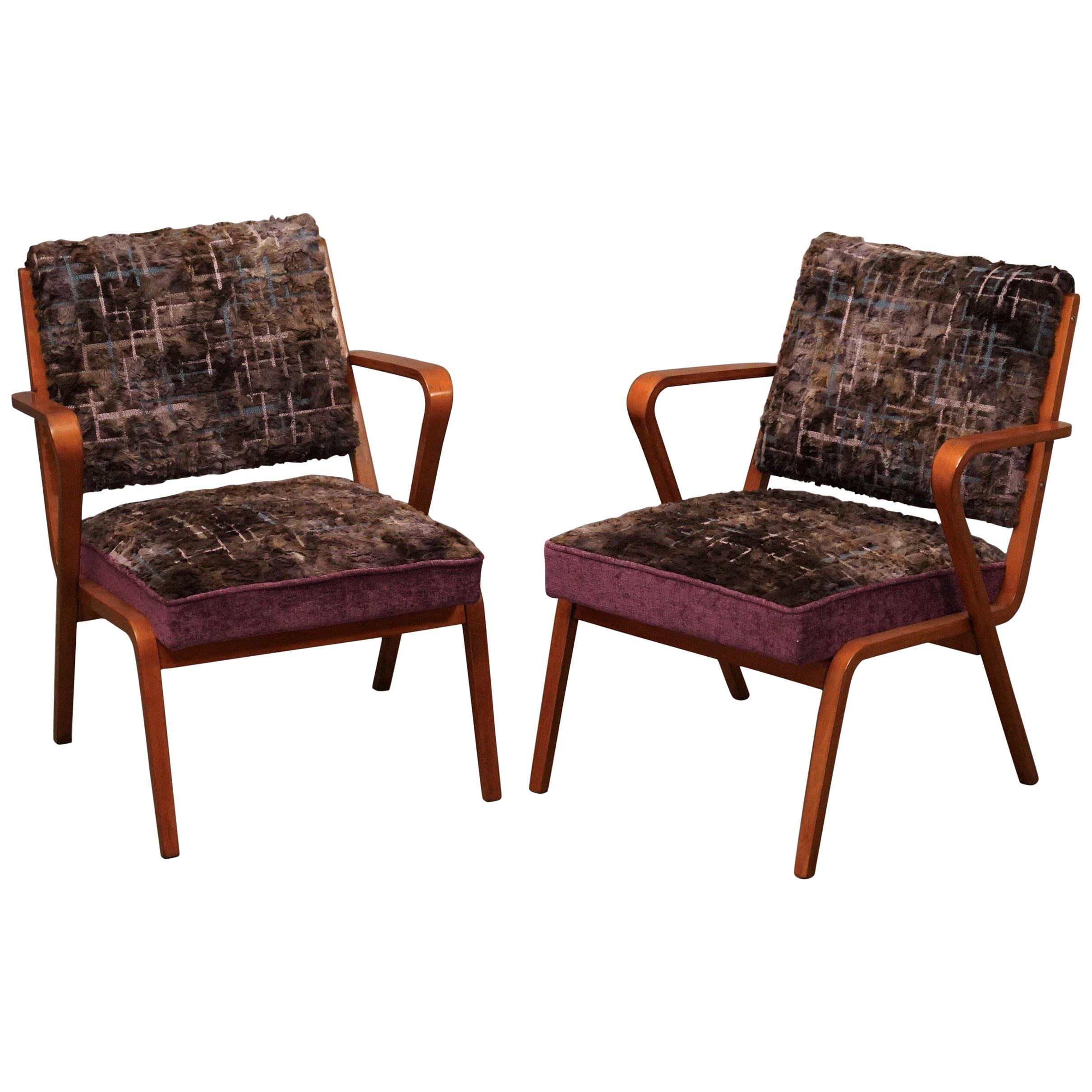 Pairs of Midcentury Violet Velvet Italian Armchairs, 1950