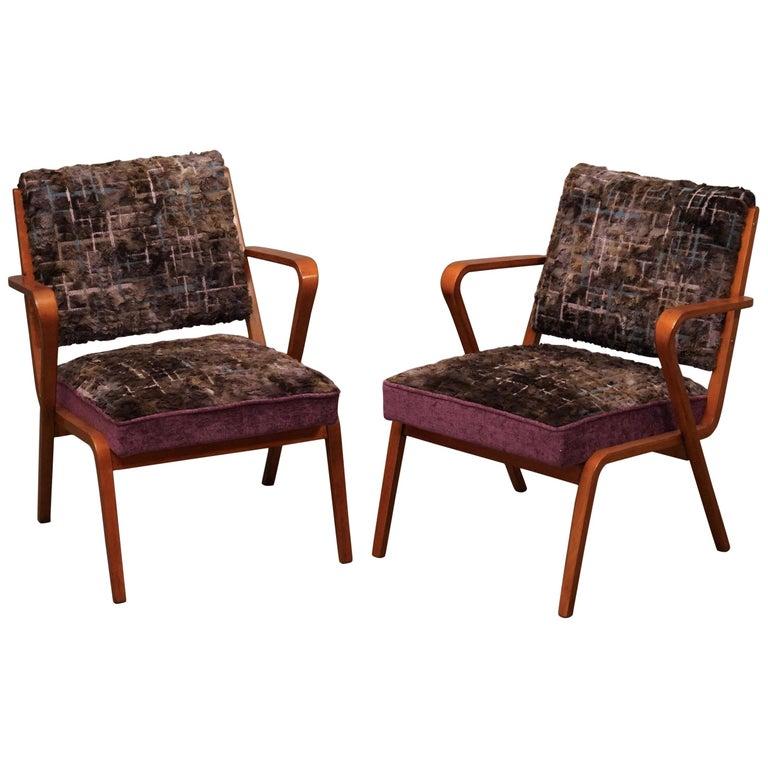 Pairs of Midcentury Violet Velvet Italian Armchairs, 1950 For Sale
