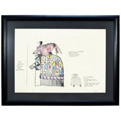 Mid-Century Modern Framed Robert Israel Signed AP Hand Colored Litho Punch Judy