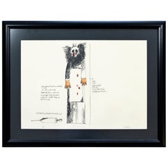 Mid-Century Modern Framed Robert Israel Signed AP Hand Colored Lithograph Judy