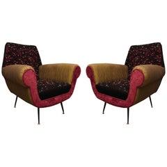 Pair of Midcentury Wool Silk and Velvet Italian Armchairs, 1950