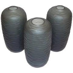 Salviati Vintage Italian Minimalist Smoked Gray Battuto Murano Art Glass Vases