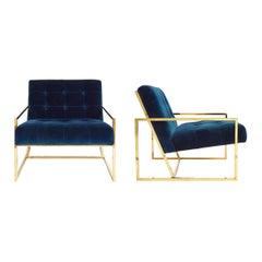 Goldfinger Navy Velvet and Brass Lounge Chair