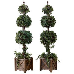 Pair of Neoclassical Faux Ivy Topiary Trees