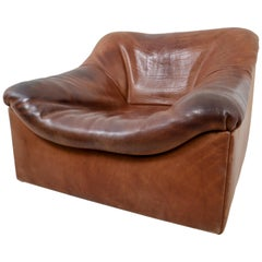 "Strong Patinated Cognac Leather ""DS-46"" Seating by De Sede in Switzerland, 1970s"