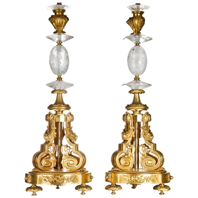 Pair of French Louis XVI Style Rock Crystal and Gilt Bronze Lamps For Sale
