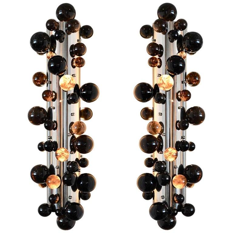 Bubble Rock Crystal Sconces by Phoenix For Sale