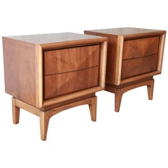 Mid-Century Modern Diamond Front Nightstands by United
