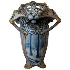 Amphora Winter Snow Art Nouveau Vase by Ernst Wahliss