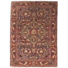 Antique Persian Kirman Lavar Rug, circa 1880